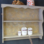 painted and hand-decorated kitchen shelves