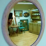 pink painted oval mirror, 50 x 38cm, £28