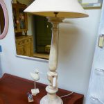 Tall French lamp & shade, 90cm high, £125
