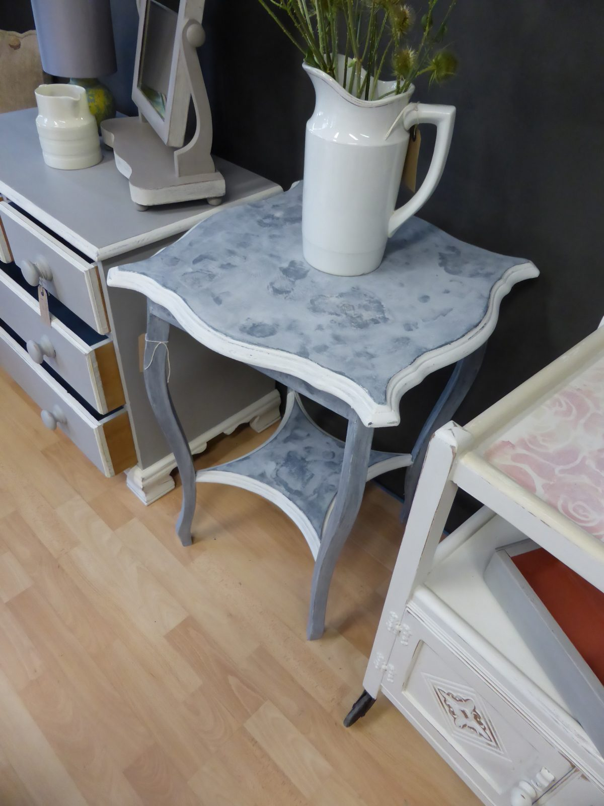 faux marble Edwardian side table